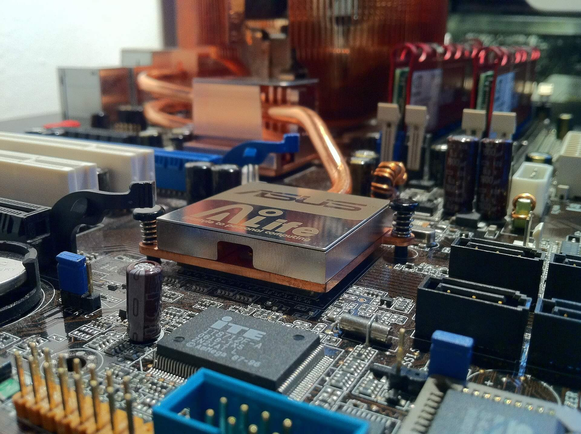 A close up of what is inside a computer