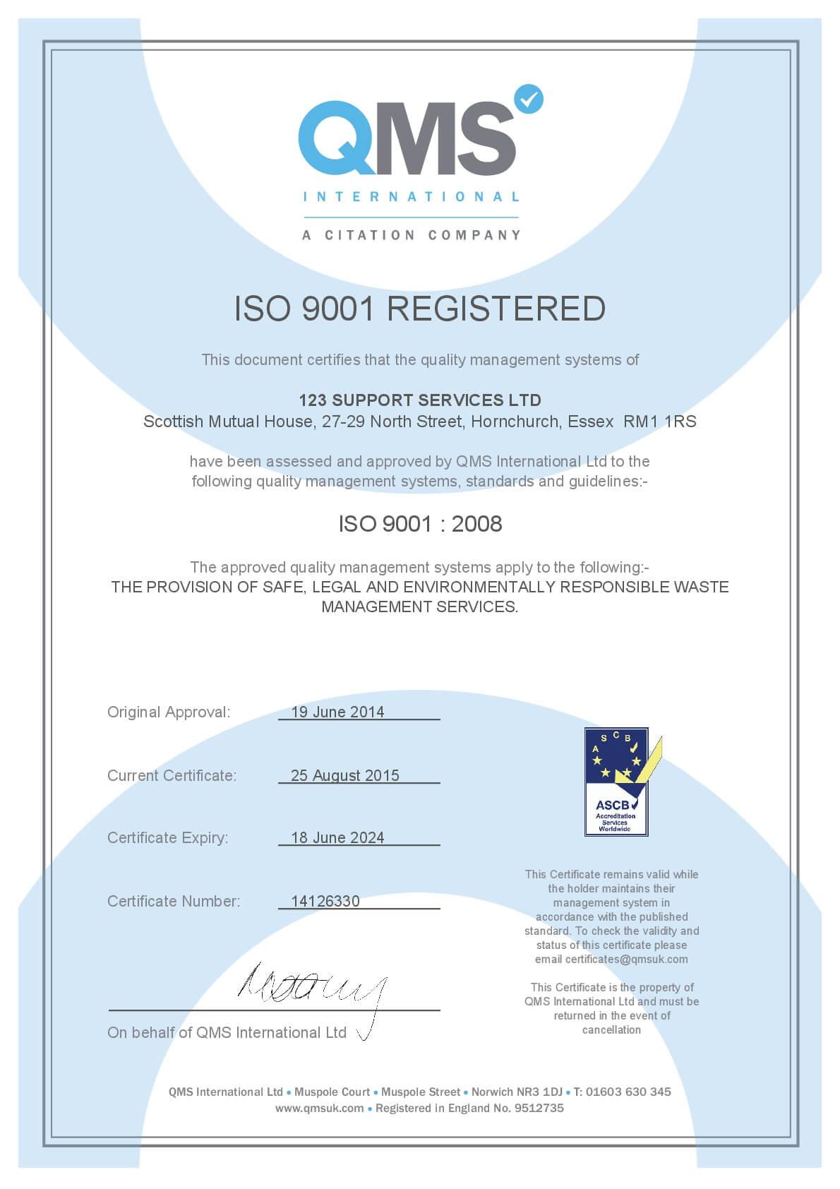 ISO 9001 Registered certificate