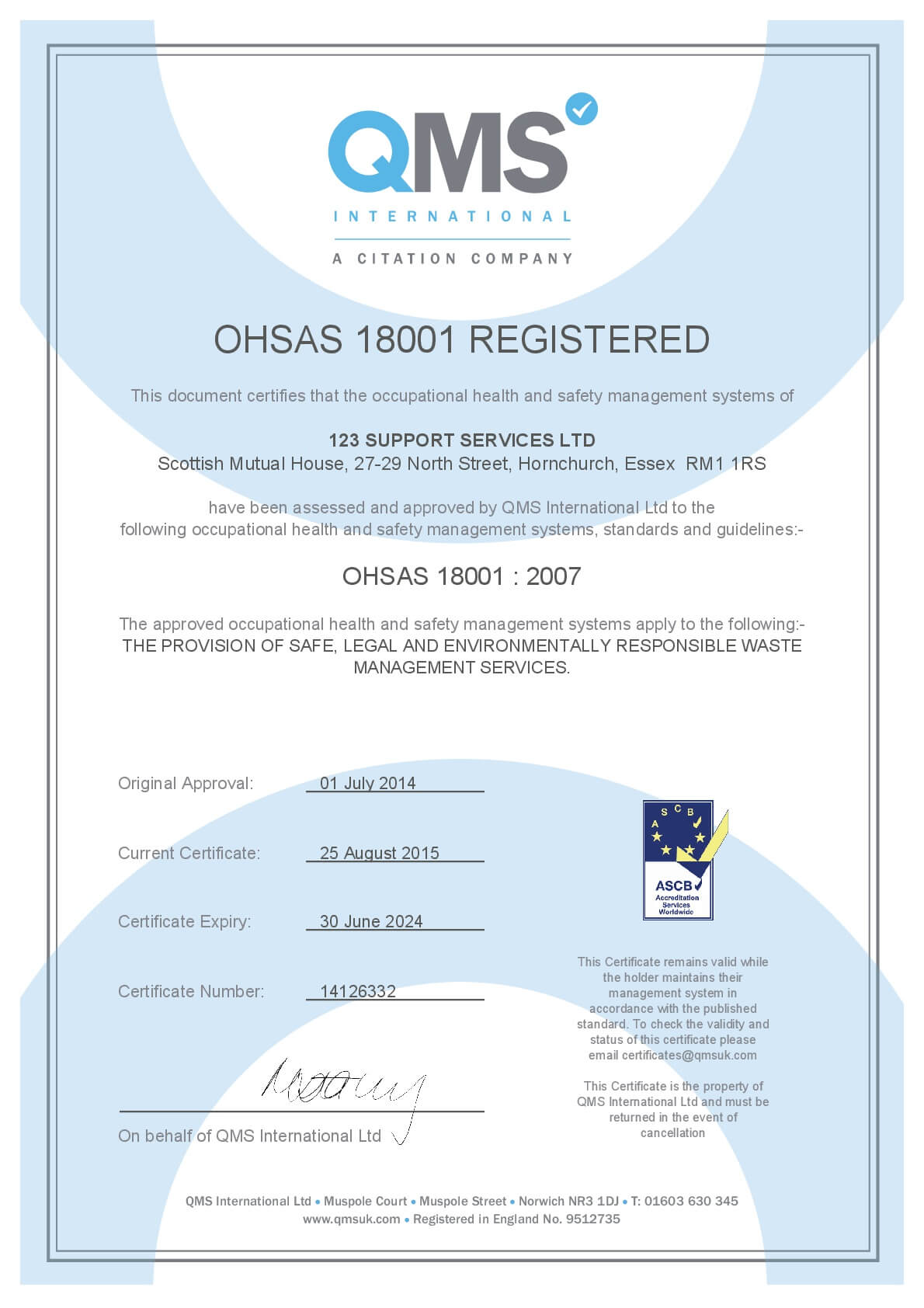 OHSAS 18001 Registered certificate