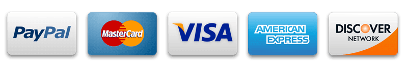 Paypal Mastercard Visa American Express and Discover Network cards