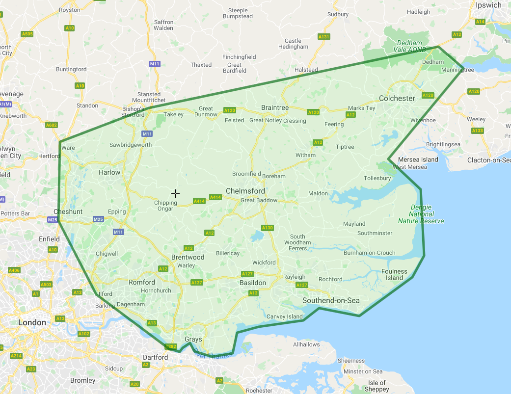 Area map of surrounding Chelmsford